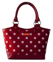 Sachi Fashion Insulated Lunch Bag, Burgundy with White Dots