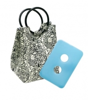 Fit & Fresh Retro Insulated Designer Lunch Bag, Damask, 7x6.5x14 Inches