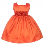Baby-Girls Sweet Kids Slvless Dress Rolled Flw Waistband 12M Med Orange (SK B3047)