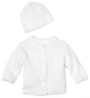 Little Me Unisex-baby Newborn Lovable Cable Sweater, White, 3 Months