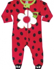 Sozo Baby-Girls Newborn Ladybug Footed Romper, Red/Black, 0-3 Months