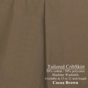 15 long Tailored CribSkirt Crib Dust Ruffle Cocoa Brown