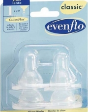 Evenflo 4 Pack Classic Silicone Nipple, Slow Flow