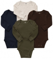 Carter's Baby Boy's 4-Pack Long Sleeve Bodysuits - Solid - 3M