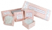 Stephan Baby Fabric-Covered Keepsake Nursery Bracelet, First Tooth and First Curl Boxes Set, Pink and White Vintage Dot