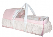 Stephan Baby Infant Girl Convertible Moses Basket with Detachable Hood and Musical Mobile, Angels in Lace