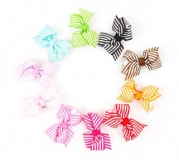Ema Jane - Baby Hair Flower, Bow, and Headband Sets (Grosgrain Bows (Stripes) on Double Prong Clips)
