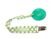 Booginhead PaciGrip Pacifier Holder, Delicate Dot Green