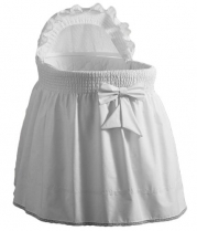 aBaby Precious Bassinet Liner, Skirt and Hood, White, 17x31