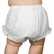 I.C. Collections Baby Girls White Double Seat Diaper Cover Bloomers, Size M