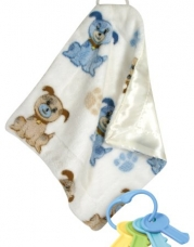 Stephan Baby Satin-Backed Flannel-Soft Fleece Security Blankie and Key Rattle Gift Set, Blue Dog