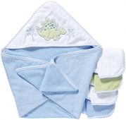 Spasilk 100% Cotton Hooded Terry Bath Towel with 4 Washcloths-Dinosaur Blue/Green