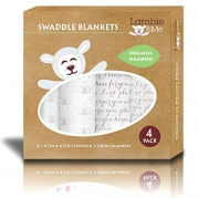 *LIMITED EDITION* Boutique Bamboo Swaddle Blankets (4 Pack Scripture & Lamb) in Gift Box | Nursery Receiving Blankets | Unisex Christening or Baptism Gift | 100% Organic Muslin | Large Sleepsacks | Bassinet, Cradle, Crib Bedding | Best Baby Shower Gift Se