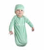 Baby Be Mine Newborn Gown and Hat Set (Newborn 0-3 Months, Mint Green Here I Am)