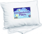 Toddler Pillow by Dreamtown Kids WITH PILLOWCASE For Kids Or Travel- Hypoallergenic (Ages 2-5) Chiropractor recommended for perfect neck safety. 14x19 inches with medium fluff makes the best size & thickness for sleeping in bed, crib, floor, carseat & air