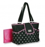 Carter's Carry It All Tote Fern Print Diaper Bag, Black/Pink