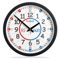 EasyRead Time Teacher Children's Wall Clock with simple 3-Step Teaching System, for home & school classroom, 14 dia, learn to tell the time , ages 5-12