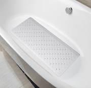 Natural Rubber Mildew Resistant Non Slip Bath Mat 15 W x 33 L Inches,Fits Any Size Bath Tub(White)