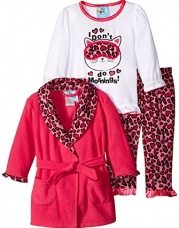 Baby Bunz Baby Girls' 3 Piece Morning Robe and Pajama Set, Pink, 18 Months