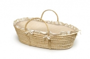Badger Basket Company Natural Baby Moses Basket - Ecru/Beige Gingham Bedding