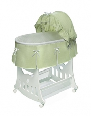 Badger Basket Company Portable Bassinet 'N Cradle with Toybox Base, Sage Waffle Pleated